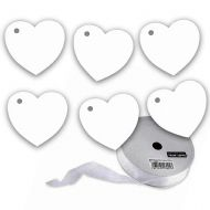 100 Heart Tags With Organza Ribbon In White - Valentines - Wedding - Wish Tree Tags